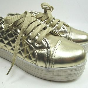 Gold Quilted Platform Sneakers Womens Size 6.5